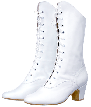 Women's leather boots with laces for folk character dance.
