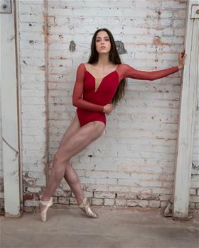 Beautifully designed leotard with mesh sleeves